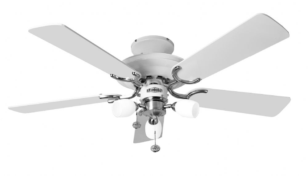 Fantasia Mayfair Combi 42 White Stainless Steel Ceiling Fan Light 110009